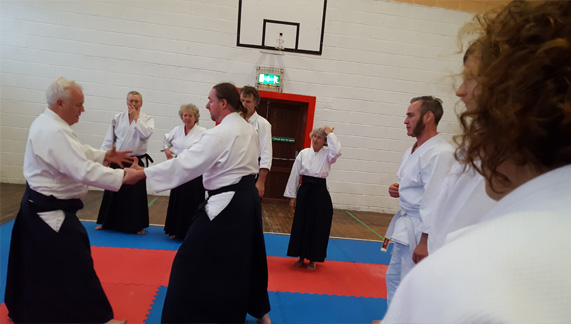 Students watching Matthew Holland Shihan in the dojo, Castlegregory, County Kerry.